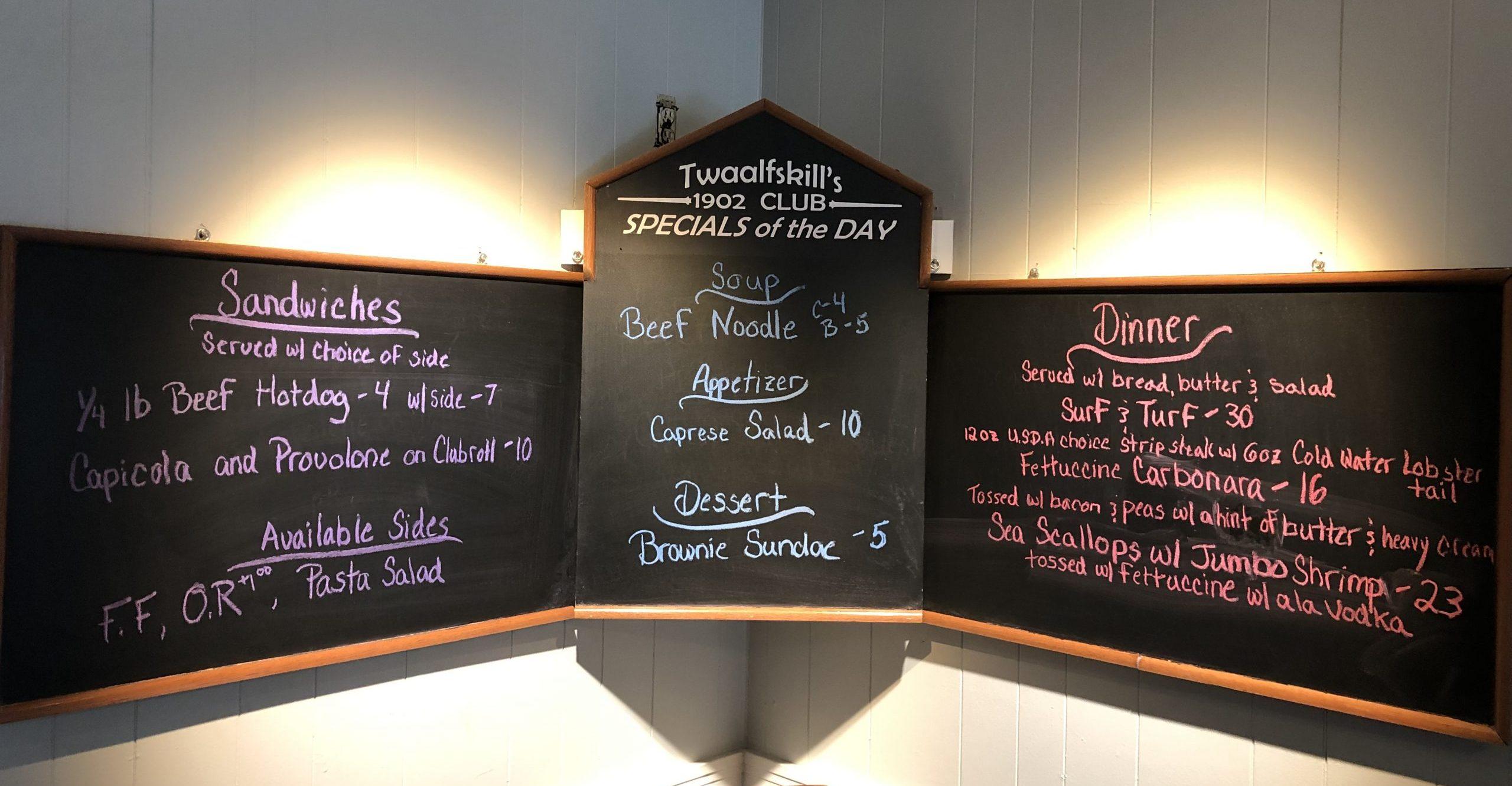Twaalfskill Club Dining Specials Chalkboard